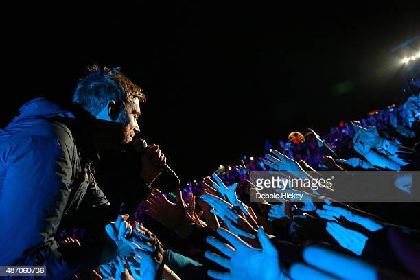 Damon Albarn of Blur greets his fans on day 2 of the Electric Picnic Festival at Stradbally Hall Estate on September 5 2015 in Stradbally Ireland