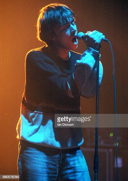 Damon Albarn of Blur performing on stage at Brixton Academy London 5 April 1992