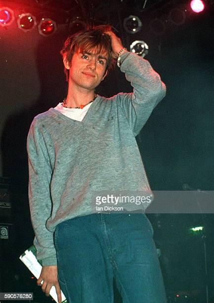 Damon Albarn of Blur performing on stage at Shepherds Bush Empire London 26 May 1994