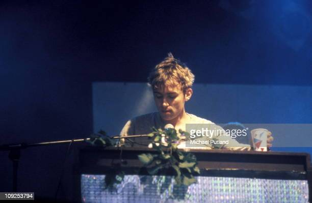 Damon Albarn of Blur performs on stage in London 1996