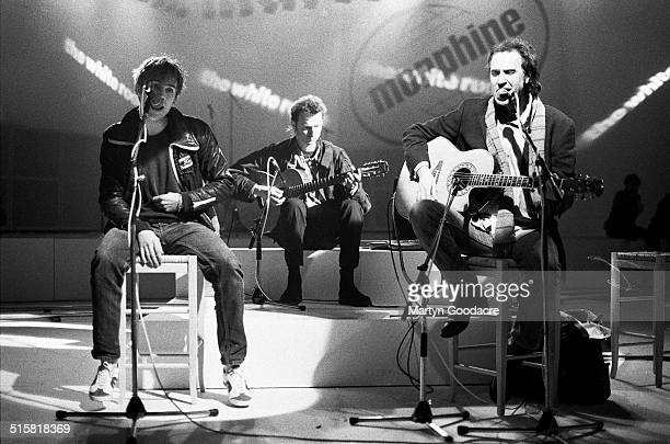 Damon Albarn of Blur with Ray Davies of The Kinks performing together on Channel 4 music TV show The White Room London United Kingdom 1995