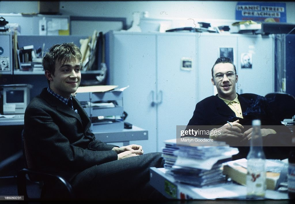 Damon Albarn of Blur with TV presenter Mark Lamarr in the NME offices London United Kingdom 1992