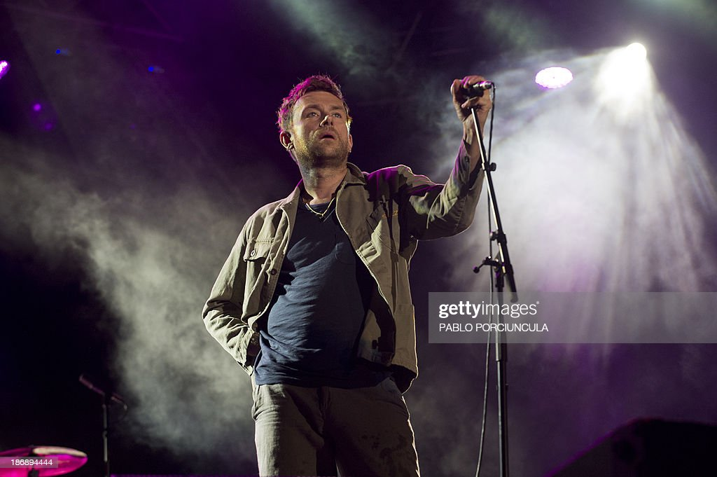 Damon Albarn of British band Blur performs during the 'Primavera 0' festival in Montevideo on November 4 2013 AFP PHOTO / Pablo PORCIUNCULA