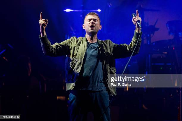 Damon Albarn of Gorillaz performs on stage at Infinite Energy Center on October 11 2017 in Duluth Georgia