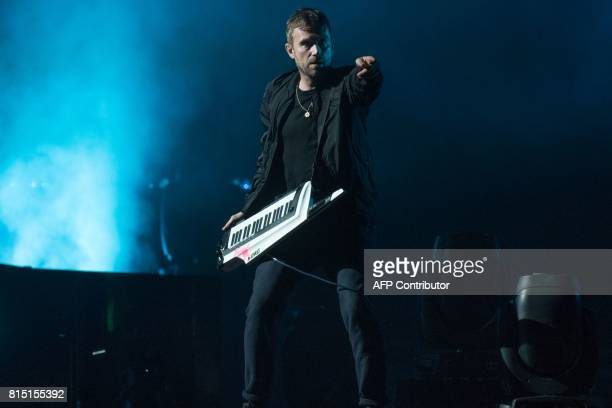 Damon Albarn of the English band Gorillaz performs during Quebec City Summer Festival on July 15 2017 in Quebec City Canada / AFP PHOTO / Alice Chiche