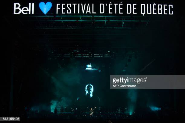 Damon Albarn of the English band Gorillaz performs for the first time at the Quebec City Summer Festival on July 15 2017 in Quebec City Canada / AFP...