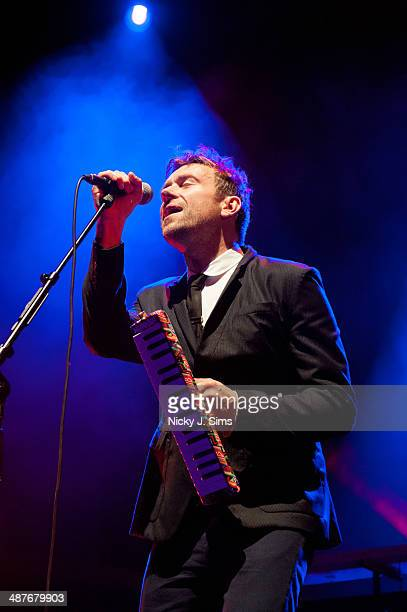 Damon Albarn performs on stage at Queen Mary University on May 1 2014 in London England