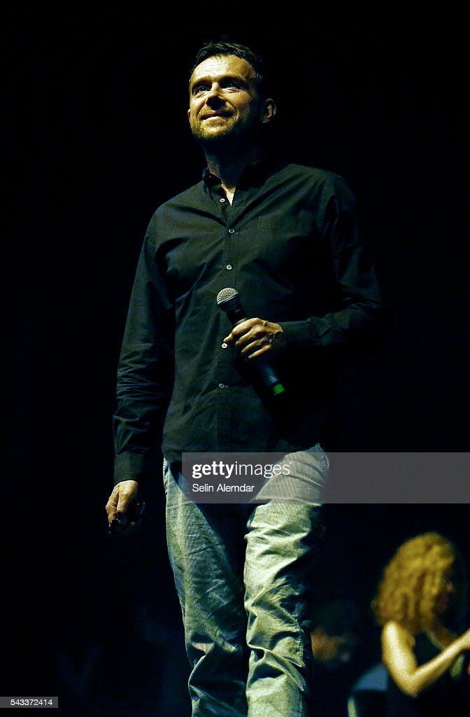 Damon Albarn performs with The Orchestra of Syrian Musicians at the 23th Istanbul Jazz Festival at Cemil Topuzlu Open Air Theatre on June 27, 2016 in Istanbul, Turkey.