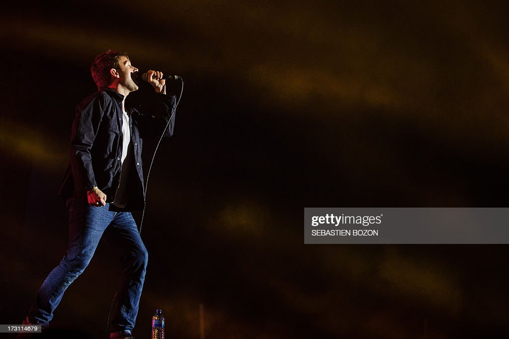 Damon Albarn, singer of British band Blur, performs on July 7, 2013 at the Eurockeennes festival in the eastern French city of Belfort.