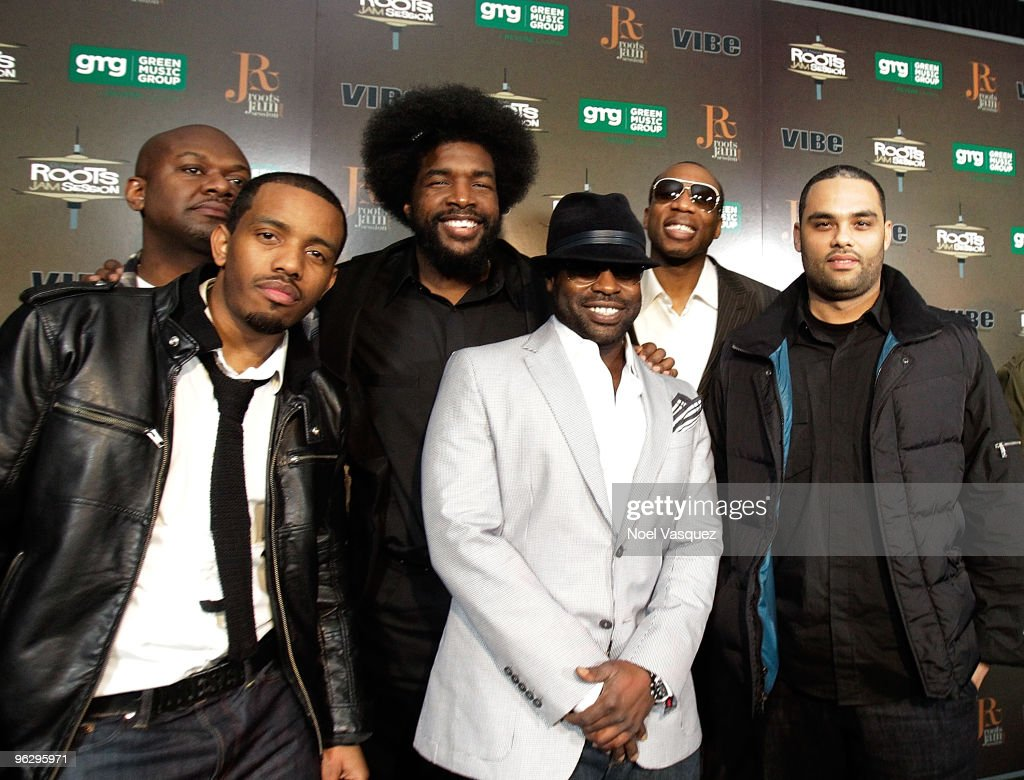 Damon Bryson 'Tuba Gooding Jr', <a gi-track='captionPersonalityLinkClicked' href=/galleries/search?phrase=Questlove&family=editorial&specificpeople=537550 ng-click='$event.stopPropagation()'>Questlove</a>, <a gi-track='captionPersonalityLinkClicked' href=/galleries/search?phrase=Black+Thought&family=editorial&specificpeople=228555 ng-click='$event.stopPropagation()'>Black Thought</a>, <a gi-track='captionPersonalityLinkClicked' href=/galleries/search?phrase=F.+Knuckles+-+The+Roots&family=editorial&specificpeople=12673075 ng-click='$event.stopPropagation()'>F. Knuckles</a>, and Kamal Gray of The Roots attend the 6th Annual Roots Jam Session at Key Club on January 30, 2010 in West Hollywood, California.