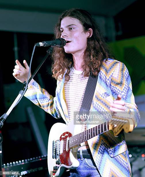 Damon Campbell of Borns performs on stage at the Stubhub/Collide showcase during the 2015 SXSW Music Film Interactive Festival at Clive Bar on March...