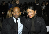 Damon Dash and Rachel Roy during Olympus Fashion Week Fall 2006 J Mendel Front Row and Backstage at Bryant Park in New York City New York United...