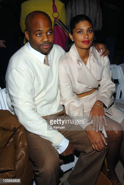 Damon Dash and Rachel Roy during Olympus Fashion Week Fall 2006 Luca Luca Front Row and Backstage at Bryant Park in New York City New York United...