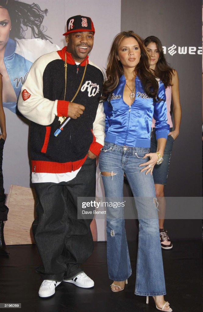 Damon Dash and <a gi-track='captionPersonalityLinkClicked' href=/galleries/search?phrase=Victoria+Beckham&family=editorial&specificpeople=161100 ng-click='$event.stopPropagation()'>Victoria Beckham</a> attends the launch of Rocawear at Selfridges on December 10, 2003 in London. (Photo by Dave Benett/Getty Images