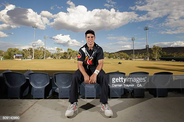 Damon Egan of Victoria poses for a photo during day 2 of the National Indigenous Cricket Championships on February 9 2016 in Alice Springs Australia