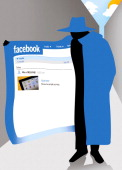 Damon Gascon illustration of faceless man in a blue overcoat holding it open to show a spamming Facebook page