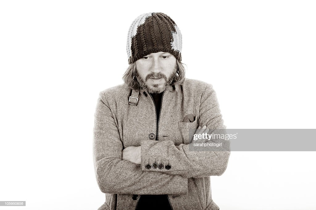 THIS IMAGE HAS BEEN CONVERTED TO BLACK AND WHITE) Damon Gough of <a gi-track='captionPersonalityLinkClicked' href=/galleries/search?phrase=Badly+Drawn+Boy&family=editorial&specificpeople=228764 ng-click='$event.stopPropagation()'>Badly Drawn Boy</a> poses for pictures at Spa Theatre on October 22, 2010 in Scarborough, England.