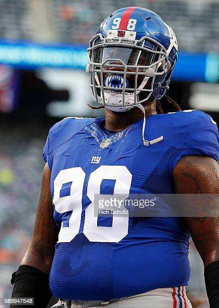 Damon Harrison of the New York Giants during warm ups before an NFL preseason game against the Miami Dolphins at MetLife Stadium on August 12 2016 in...