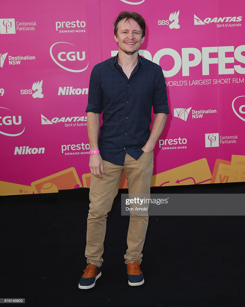 <a gi-track='captionPersonalityLinkClicked' href=/galleries/search?phrase=Damon+Herriman&family=editorial&specificpeople=2235618 ng-click='$event.stopPropagation()'>Damon Herriman</a> arrives ahead of Tropfest 2016 at Centennial Park on February 14, 2016 in Sydney, Australia.