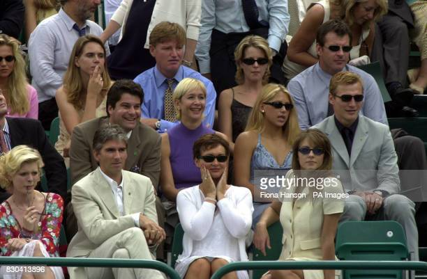 Damon Hill and wife Georgie Liz Hurley Tania Bryer Anna Kournikova and Sergei Federov Ernie Els and Nick Faldo with Valerie Bercher at Buckingham...