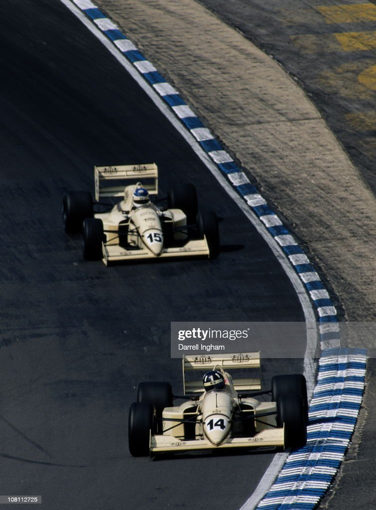<a gi-track='captionPersonalityLinkClicked' href=/galleries/search?phrase=Damon+Hill&family=editorial&specificpeople=195346 ng-click='$event.stopPropagation()'>Damon Hill</a> drives the #14 Barclays Eddie Jordan Racing Lola T91/50 Tickford Cosworth ahead of his team mate Vincenzo Sospiri during the FIA International F3000 Championship race on 18th August 1991 at the Brands Hatch circuit in Fawkham, Great Britain.