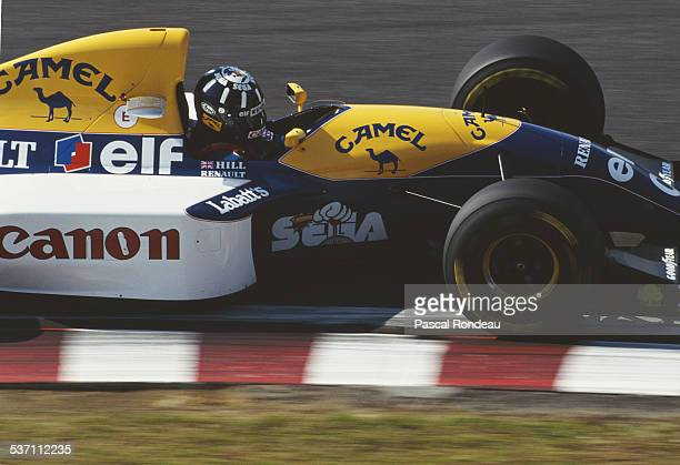 Damon Hill of Great Britain drives the Canon Williams Renault Williams FW15C Renault RS5 V10 during the Fuji Television Japanese Grand Prix on 24...