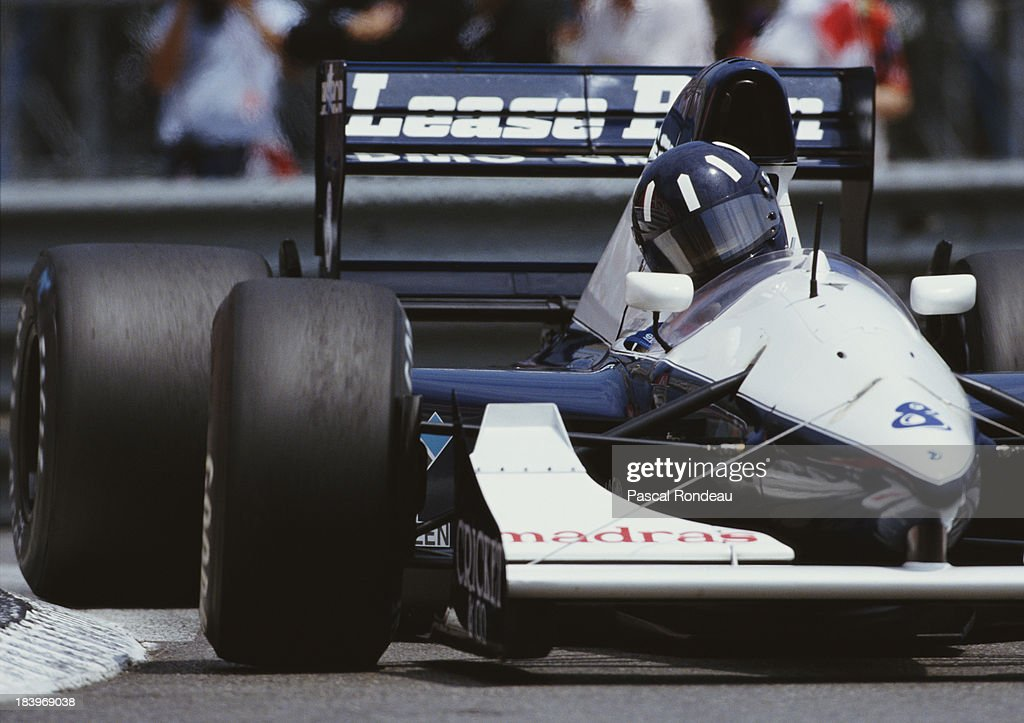 <a gi-track='captionPersonalityLinkClicked' href=/galleries/search?phrase=Damon+Hill&family=editorial&specificpeople=195346 ng-click='$event.stopPropagation()'>Damon Hill</a> of Great Britain drives the #8 Motor Racing Developments Ltd Brabham BT60B Judd GV V10 during practice for the Grand Prix of Monaco on 30th May 1992 on the streets of the Principality of Monaco in Monte Carlo, Monaco.