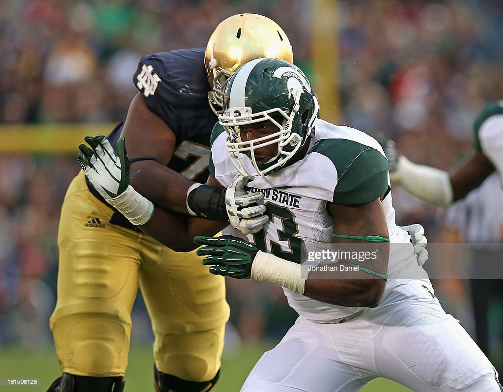 Damon Knox #93 of the Michigan State Spartans rushes against Ronnie Stanley #78 of the Notre Dame Fighting Irish at Notre Dame Stadium on September 21, 2013 in South Bend, Indiana. Notre Dame defeated Michigan State 17-13.