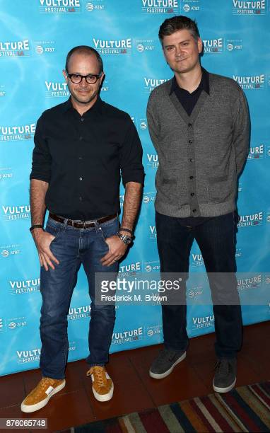 Damon Lindelof and Michael Schur attend the Vulture Festival Los Angeles at the Hollywood Roosevelt Hotel on November 18 2017 in Hollywood California