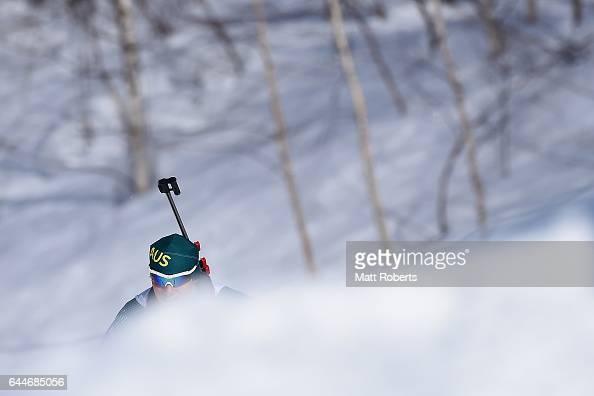 Damon Morton of Australia competes in the men's biathlon 125 km pursuit on day seven of the 2017 Sapporo Asian Winter Games at Nishioka Biathlon...