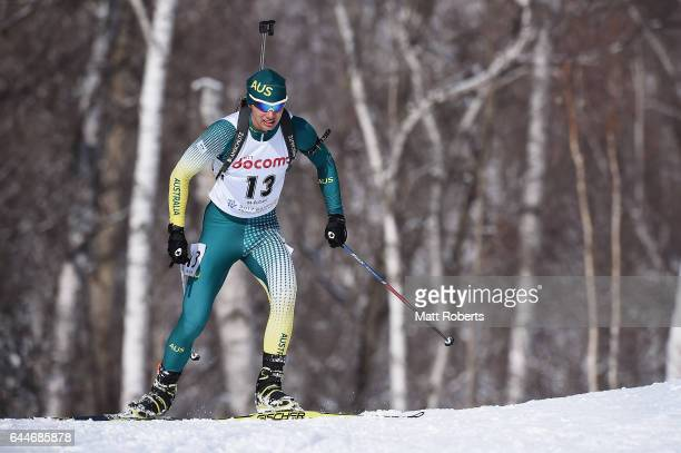 Damon Morton of Australia competes in the men's biathlon 125 km pursuit on day seven of the 2017 Sapporo Asian Winter Games at Nishioka Biathlon...