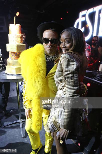 Damon Peruzzi and Estelle attend the Legendary Damons annual LUXXBALL at Marquee on March 23 2014 in New York City