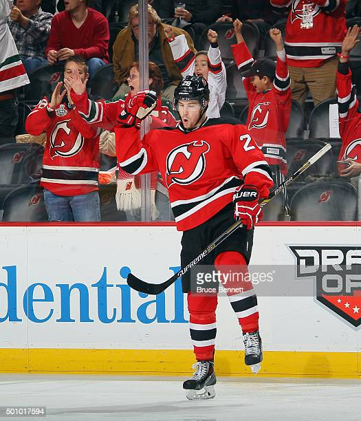 Damon Severson of the New Jersey Devils celebrates his goal against the Detroit Red Wings at 240 of the third period at the Prudential Center on...