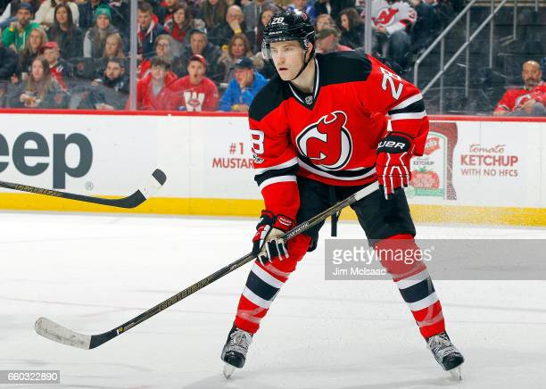 Damon Severson of the New Jersey Devils in action against the Dallas Stars on March 26 2017 at Prudential Center in Newark New Jersey The Stars...