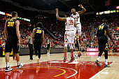 Damonte Dodd and Rasheed Sulaimon of the Maryland Terrapins celebrate in the second half of their 7468 win over the Iowa Hawkeyes at Xfinity Center...