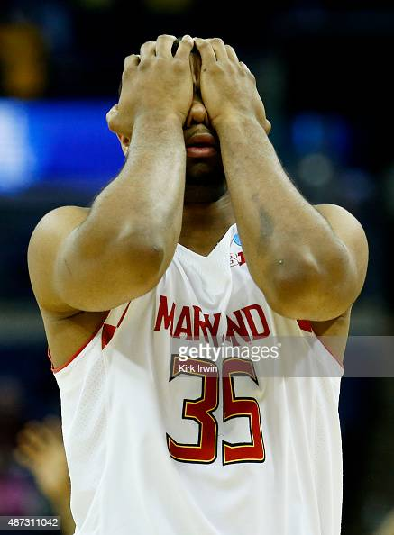 Damonte Dodd of the Maryland Terrapins reacts to their 59 to 69 loss to the West Virginia Mountaineers during the third round of the 2015 NCAA Men's...