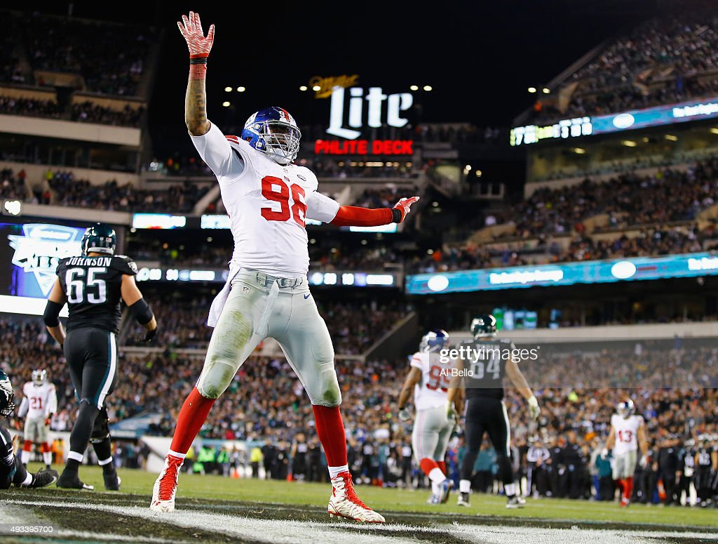 <a gi-track='captionPersonalityLinkClicked' href=/galleries/search?phrase=Damontre+Moore&family=editorial&specificpeople=8318058 ng-click='$event.stopPropagation()'>Damontre Moore</a> #98 of the New York Giants celebrates a sack against Sam Bradford #7 of the Philadelphia Eagles during their game at Lincoln Financial Field on October 19, 2015 in Philadelphia, Pennsylvania.