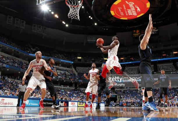 Damyean Dotson of the Houston Cougars drives to the basket for a layup against the Memphis Tigers on February 26 2017 at FedExForum in Memphis...