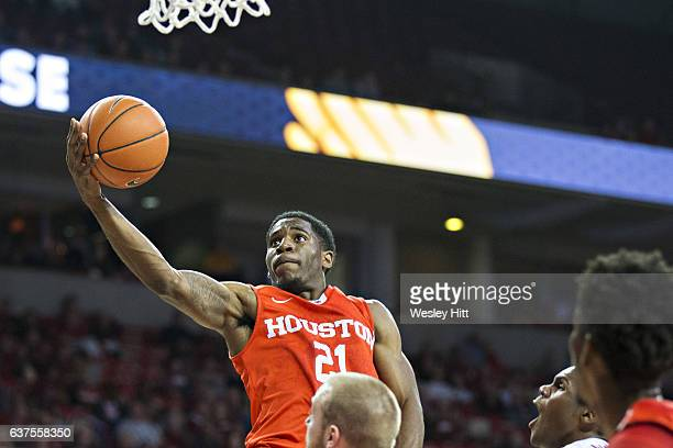 Damyean Dotson of the Houston Cougars goes up for a layup during a game against the Arkansas Razorbacks at Bud Walton Arena on December 6 2016 in...