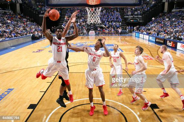 Damyean Dotson of the Houston Cougars grabs a rebound against Houston Cougars on February 26 2017 at FedExForum in Memphis Tennessee Houston defeated...