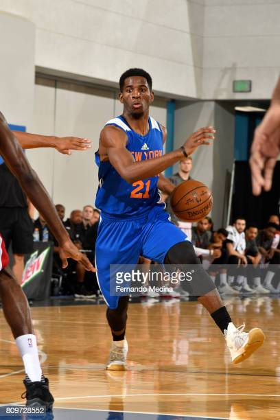 Damyean Dotson of the New York Knicks drives to the basket against the Miami Heat during the Mountain Dew Orlando Pro Summer League on July 6 2017 at...
