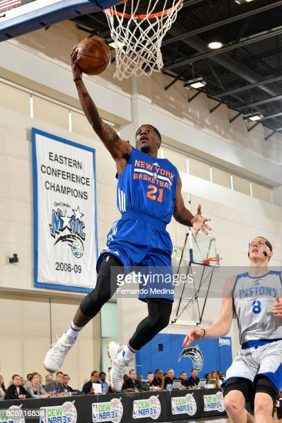 Damyean Dotson of the New York Knicks goes to the basket against the Detroit Pistons during the 2017 Summer League on July 2 2017 at Amway Center in...