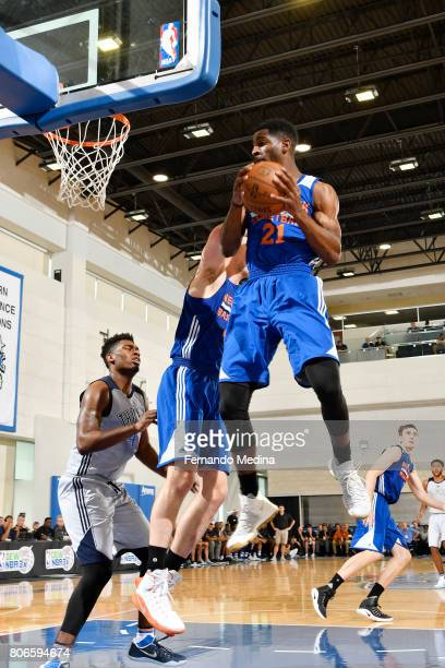 Damyean Dotson of the New York Knicks grabs the rebound against the Oklahoma City Thunder on July 3 2017 during the 2017 Summer League at Amway...