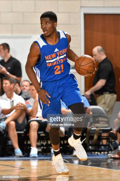 Damyean Dotson of the New York Knicks handles the ball against the Dallas Mavericks during the 2017 Summer League on July 1 2017 at Amway Center in...