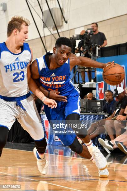 Damyean Dotson of the New York Knicks handles the ball against the Detroit Pistons during the 2017 Summer League on July 2 2017 at Amway Center in...