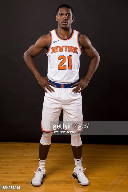 Damyean Dotson of the New York Knicks is photographed at New York Knicks Media Day on September 25 2017 in Greenburgh New York