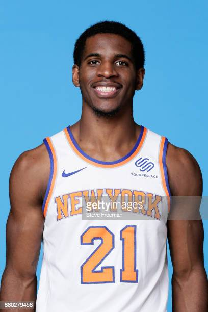 Damyean Dotson of the New York Knicks poses for a head shot at the New York Knicks Practice Center on October 11 2017 in Tarrytown New York NOTE TO...