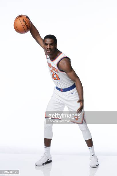 Damyean Dotson of the New York Knicks poses for a portrait during Media Day on September 25 2017 at the Knicks Practice Center in Tarrytown New York...
