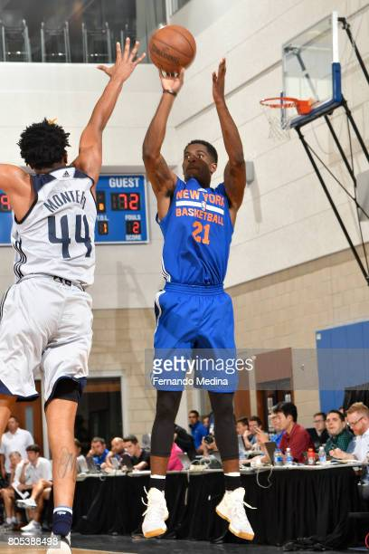 Damyean Dotson of the New York Knicks shoots the ball against the Dallas Mavericks during the 2017 Summer League on July 1 2017 at Amway Center in...