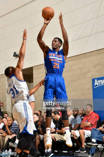 Damyean Dotson of the New York Knicks shoots the ball against the Detroit Pistons during the 2017 Summer League on July 2 2017 at Amway Center in...